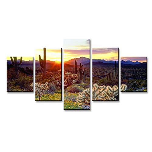JunBo Cactus du désert, Impression HD 5 relié Toile décorative fresque décoratif Suspendu