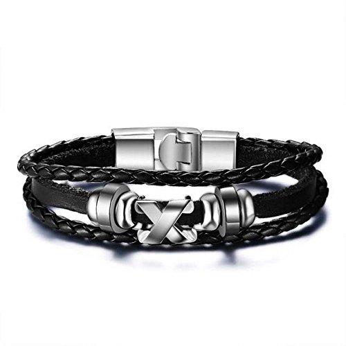 Lau-Fashion Herren Echt Leder Armband Ringe X Schwarz Emo Syle Schmuck 22cm