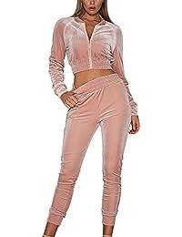 Tidecc Women Velour Velvet Tracksuit Zip Up Crop Tops + Long Pants Playsuit  Sport Gym Jogging 9681edb38bb