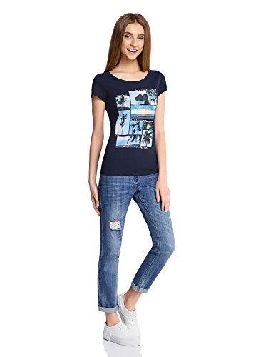 oodji Ultra Damen Baumwoll-T-Shirt mit Sommerdruck Blau (7919P)