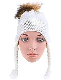 HuntGold bébé chapeau tricoté casquettes chaud hiver boules de poils bonnet d'enfant blanc