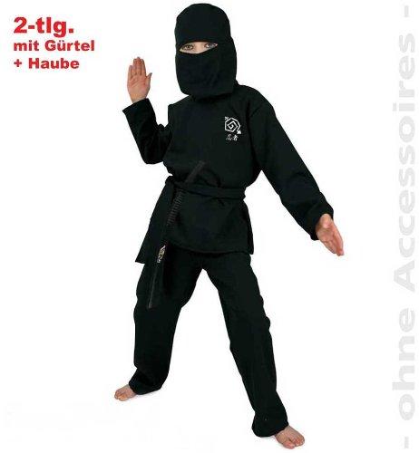 Fries 2078 Ninja Kostüm schwarz mit Gürtel und Haube Kinder Fasching Karneval: Größe: (Für Ninja Mädchen Kostüm)