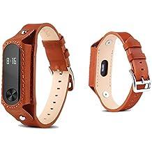 Pinhen MI BAND 2 Banda Xiaomi único y atractivo pulseras cuero reemplazo de la correa con cierres metálicos (Brown)