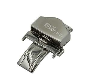 Boucle Mecanisme lustree avec bande de retenue exterieure brossee de 22mm en Acier Inoxydable pour Bracelets de Montres avec Deploiement Papillon et Boutons-Poussoirs