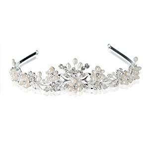 Bridal Wedding Silver plated Crystal Tiara Crown freshwater pearls AD296