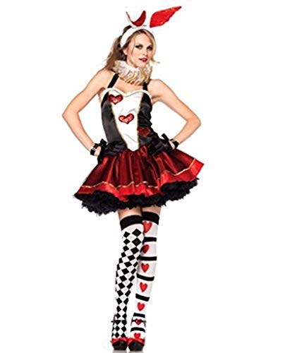 Das Gute Leben Damen Qualität Königin von Karten / Herz-Kostüm 5 Stück Ausführlich Kleid Ohren und Handschuhe Größe 36-38
