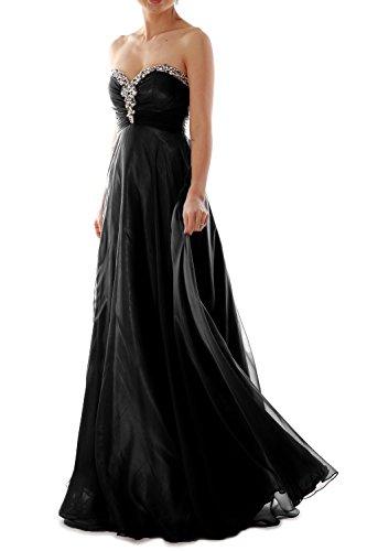 MACloth Women Strapless Crystal Chiffon Long Prom Dress Evening Formal Ball Gown Black