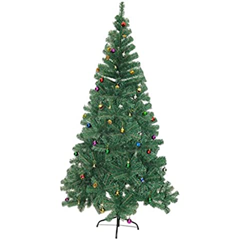 Árbol de Navidad Pino Abeto Arbol Plastico Verde 150 cm INCLUYE DECORACION y Soporte de Base