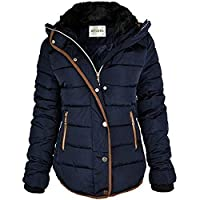 Fashion Thirsty Womens Ladies Quilted Winter Coat Puffer Fur Collar Hooded Jacket Parka Size New (UK 14, Navy Blue/Brown Trim)