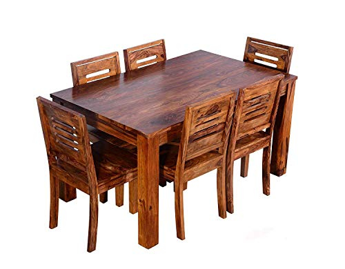Furniture World Sheesham Wood Wooden Dining Table with 6 Chairs | Home and Living Room (6 Seater 1, Teak Finish)