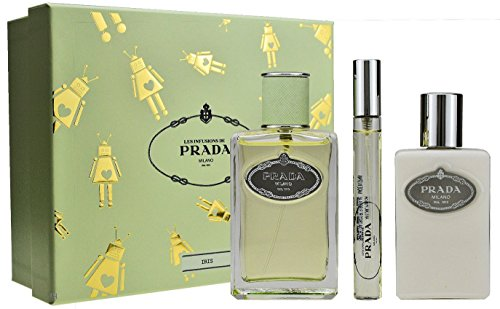 Prada Infusion D'Iris Geschenkset 100ml Eau de Parfum Spray + 100ml Body Lotion + 10ml EDP Eau de Parfum Roll On - 10 Ml Eau De Parfum Spray