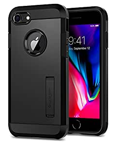 Cover iPhone 7, Spigen® [Tough Armor] [2nd Generation] iPhone 7 cover with Kickstand and Extreme Heavy Duty Protection and Air Cushion Technology for iPhone 7 (2016) - Black - 054CS22216