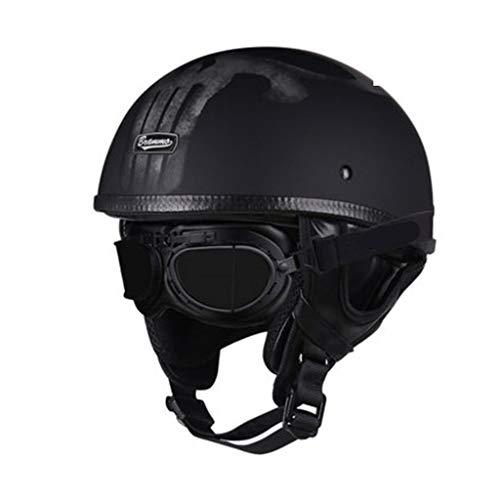 CAKGER Motorradhelm, Tragbarer Jet Helm Float Motorradhelm, Pilot Edifier Retro Moto Fahrradhelm, XS-2XL,P-S=55~56CM -