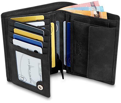GenTo® Herren Geldbörse Dublin mit Münzfach - TÜV geprüfter RFID NFC Schutz - Geräumiger Geldbeutel im Hochformat - Inklusive Geschenkbox - erhältlich in 5 Farben | Design Germany (Schwarz - Soft)