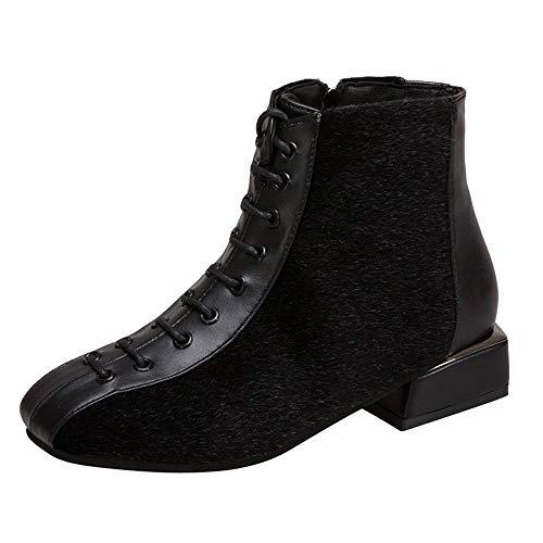 Winter Schuhe Damen,Elecenty Frauen Damenschuhe Stiefel Kurzschaft Stiefeletten Schnürstiefel Chelsea Flandell Boots Schnürboots