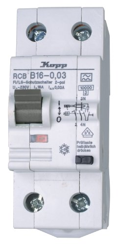 fi 10ma Kopp 741615086 FI/LS Kombination (RCB), 2-polig B-Charakteristik nach DIN VDE 0664