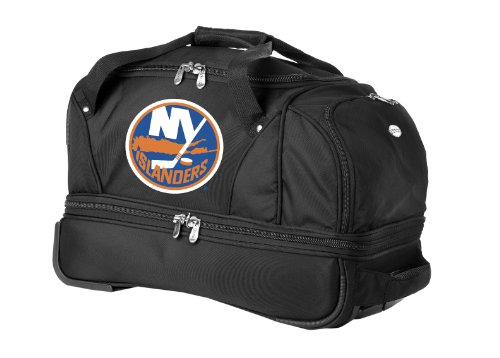 nhl-new-york-islanders-denco-22-inch-drop-bottom-rolling-duffel-luggage-black