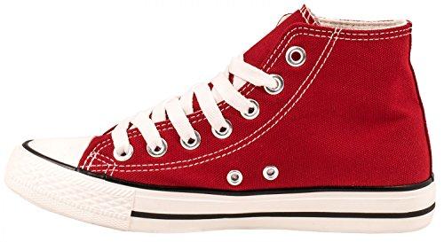 Elara Basic Turnschuh Herren 36 Rot 47 Sneaker Top Damen Unisex Sportschuhe Textil High f眉r Schuhe 46wq4Zxr