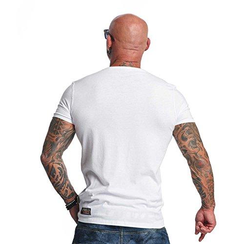 Yakuza Original Herren Basic Line V-Neck T-Shirt Weiß