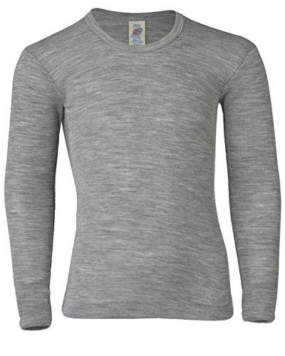 Engel Baby/Kinder Unterhemd/Shirt Langarm Reine Bio-Wolle/Seide, Hellgrau Melange, 128
