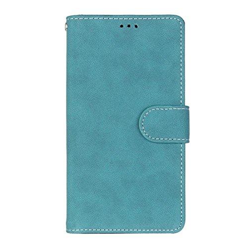 Alcatel One Touch Pop 3 (5.5) Hülle, Chreey Matt Leder Tasche Retro Handyhülle Magnet Flip Case mit Kartenfach Geldbörse Schutzhülle Etui [Blau]