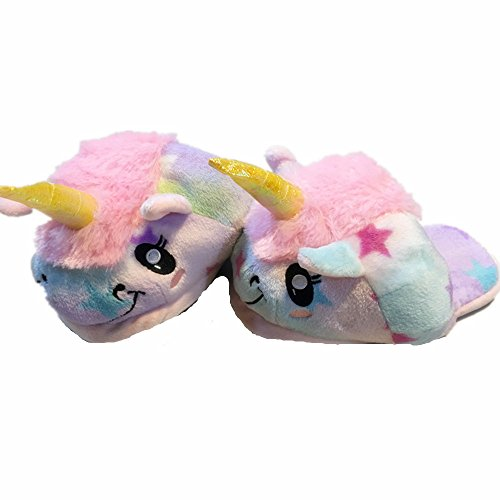Kenmont Peluche Licorne Chaussons Unicorn Pantoufles Coton Chaussons Chaussures (Stars)