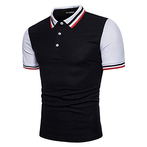 UUAISSO Herren Kragen Kurzarm Polo Casual Fashion Slim Fit T-Shirt Schwarz XX-Large