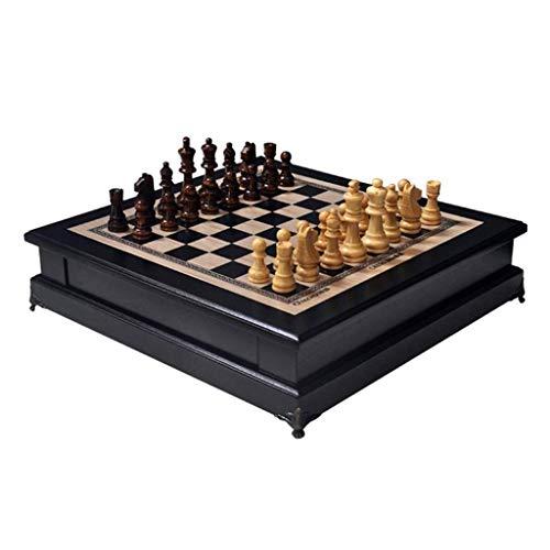 OhLt-j Schach Humanisierte Design Magnetische hochwertige Schach Holz Schach Studenten Intellektuell Entwicklung Lernen Spielzeug (Größe: 37,5x38,5x9,5 cm)