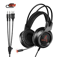 Amicool Gaming Headset for PS4 / Xbox One / W3 Stereo - Bass - Surround/Noise Reduction/Volume Control/Over Headphones with Microphone Ear - For Laptop/PC/Mac/Smartphone Black-B