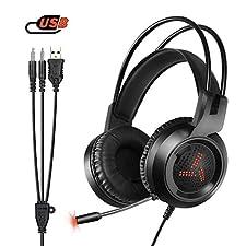 Amicool Gaming Headset für PS4 / Xbox One, W3 Stereo - Bass - Surround/Lärmminderung/Lautstärkeregler/über Kopfhörer Mit Mikrofon Ohr - Für Laptop - PC Mac Computer und Smartphone