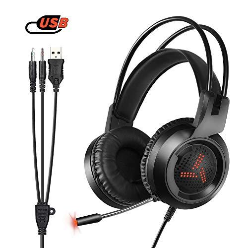 et für PS4 / Xbox One, W3 Stereo - Bass - Surround/Lärmminderung/Lautstärkeregler/über Kopfhörer Mit Mikrofon Ohr - Für Laptop - PC Mac Computer und Smartphone ()
