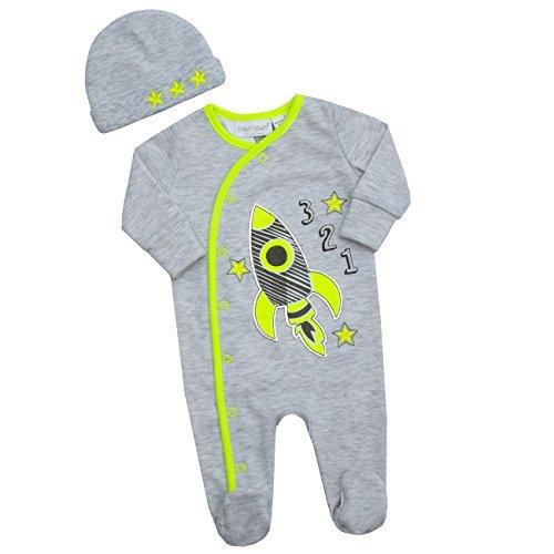 Schlafanzug Bandana (Baby Town Raum Design Schlafanzug Strampler alles in einem Strampler Bandana Lätzchen oder Wiege Mütze - grau mit Aufnäher Rakete mit Mütze, 6-9 Jahre)