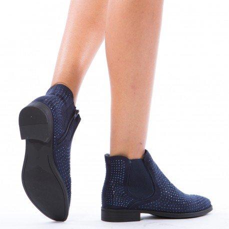 Ideal Shoes - Bottines chelsea à strass Inael Bleu