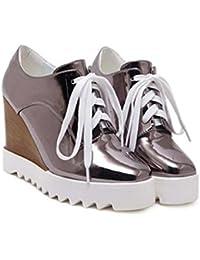 Onfly Zapatillas Tacones de cuña Zapatos casuales dama Sencillo Moda Cuero Cordones Plataforma gruesa Muffins...