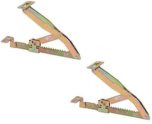 Gedotec Liegen-Hochstellstütze Montage Rasthochstell-Beschlag montieren Klappen-Halterung anbringen | Stahl gelb chromatiert | 2 Stück
