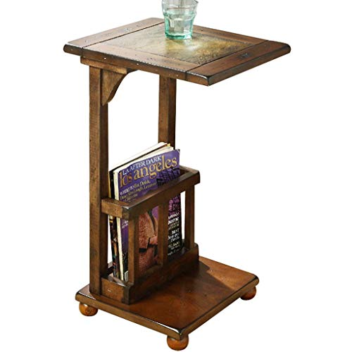 Tables Ensembles de et chaises Basse en Bois Chambre à Coucher Petite carrée Salon canapé étagère de Chevet Bureau d'ordinateur (Color : Brown, Size : 31.8cm*38.8cm*61cm)