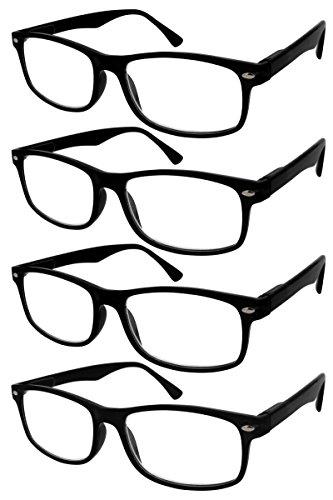 TBOC Lesebrille Lesehilfe für Herren und Damen - (Pack 4 Einheiten) Dioptrien +4.00 Schwarz Fassung mit Stärke für PC Handy Trend Frauen Männer Senioren für Alterssichtigkeit Presbyopie