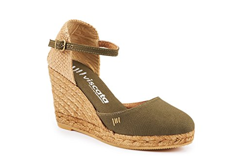 VISCATA Satuna Ankle-Strap, Closed Toe, Classic Espadrilles with 3-inch Heel Made in Spain Vert
