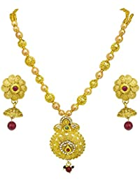 Surat Diamonds Drop Shaped Colored Stone, Shell Pearl And Gold Plated Pendant Necklace & Earring Set For Women...
