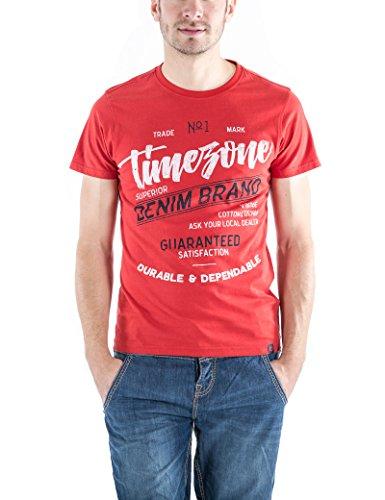 Timezone Herren T-Shirts Script T-Shirt Carbonized Rot (Salsa 5210)