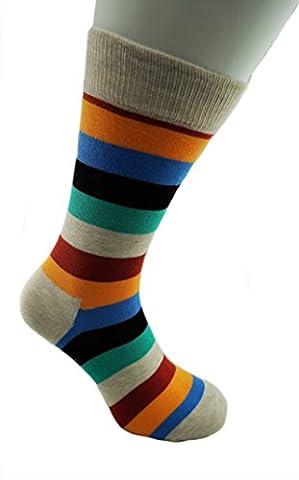 Bunte Herrensocken > Größe 40 bis 45 / Happy Business Socks Herren / Streifen Socken Bunt für Männer (40-45 (1 pack), beige-rot-orange-blau-schwarz-grün)