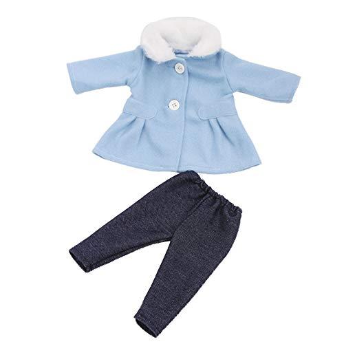Uteruik Puppenkleidung für 46 cm Mädchen Puppen Winter Casual Outfits - Langarm Mantel und Hose, Kostüm-Zubehör, 2 Stück/Set blau (2 Stück Winter Kostüm)