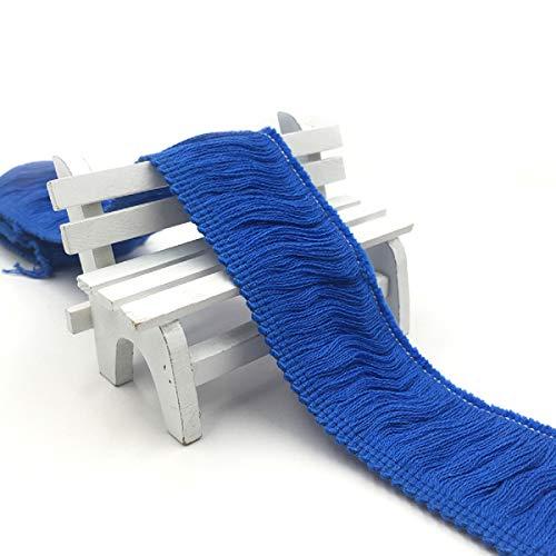 Yalulu 5 Meter Fransen Quaste Besatz aus Baumwolle Band Trim für Kleidung DIY Fertigkeit und Dekorieren Nähen Zubehörteil (Gem Blue)