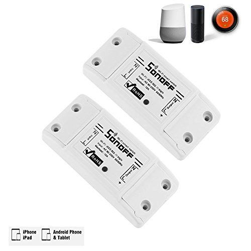 Basic-feuchtigkeit (sonoff Smart Fernbedienung Wireless WiFi Switch Modul. Kompatibel mit Alexa, Google Home, nest. IOS & Android kompatibel. (2Pack))