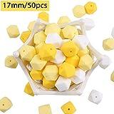 baby tete Silikon Beißring Perlen Gelb Weiß 50pcs 17mm BPA Frei Pflege...