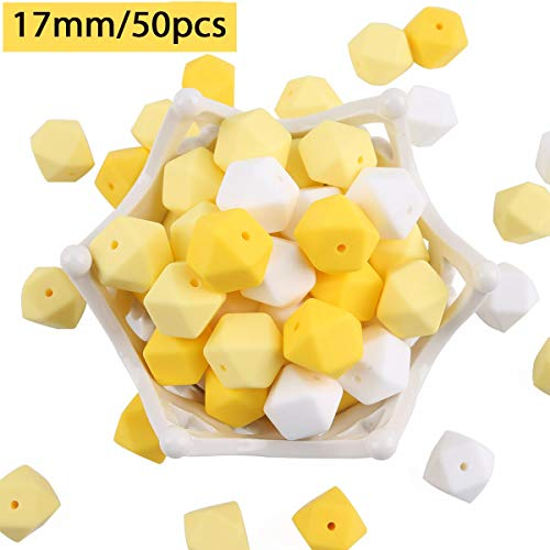 baby tete Silikon Beißring Perlen Gelb Weiß 50pcs 17mm BPA Frei Pflege Halskette/Armband Zubehör