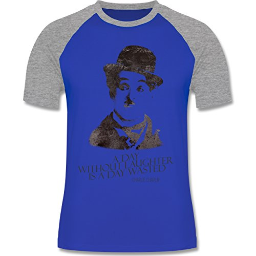 Vintage - Charlie Chaplin - a day without laughter is a day wasted - zweifarbiges Baseballshirt für Männer Royalblau/Grau meliert