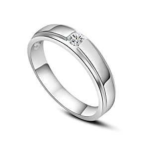 Fashion Plaza 925 Sterling Silver Wedding Ring with the Clear Crystal Ring S-R54 in size R