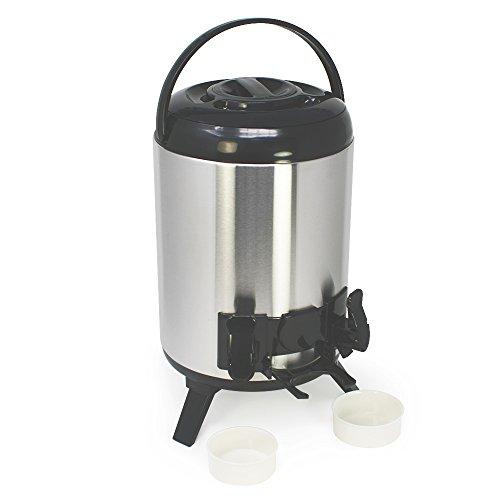 COM-FOUR 9 Liter Isolier-Getränkespender mit 2 Zapfhähnen, Große Isolierkanne, Glühwein Spender,...