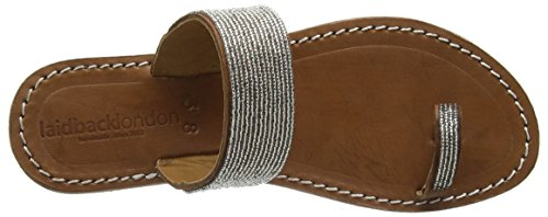 Laidback London064SS16 TRENT flat - Sandali a Punta Aperta Donna Argento (Argento (midbrown/silver))